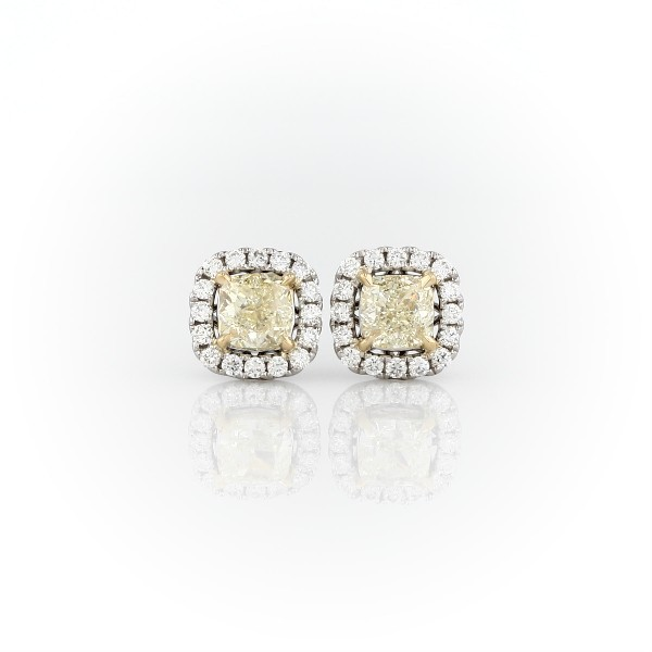 Cushion-Cut Yellow Diamond Halo Stud Earring in 18k White and Yellow Gold (1 1/2 ct. tw.)