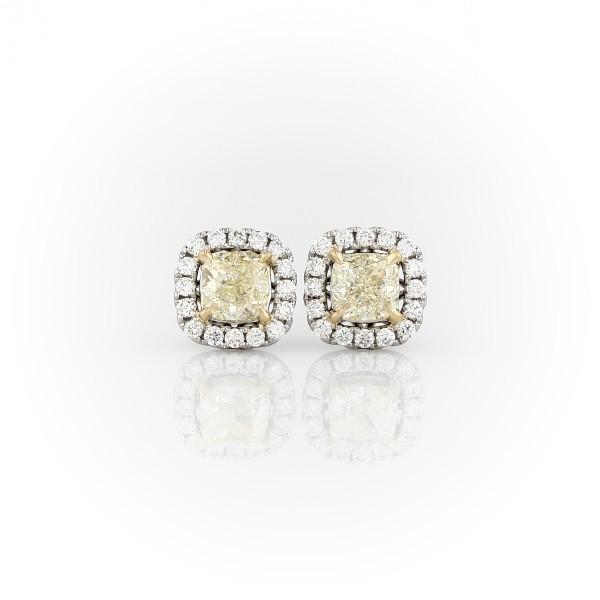 18k 白金和黃金墊形切割黃鑽光環釘款耳環(1 1/2 克拉總重量)