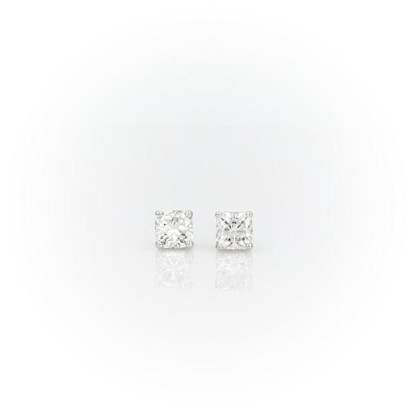 14k 白金墊形鑽石耳釘(1/2 克拉總重量)