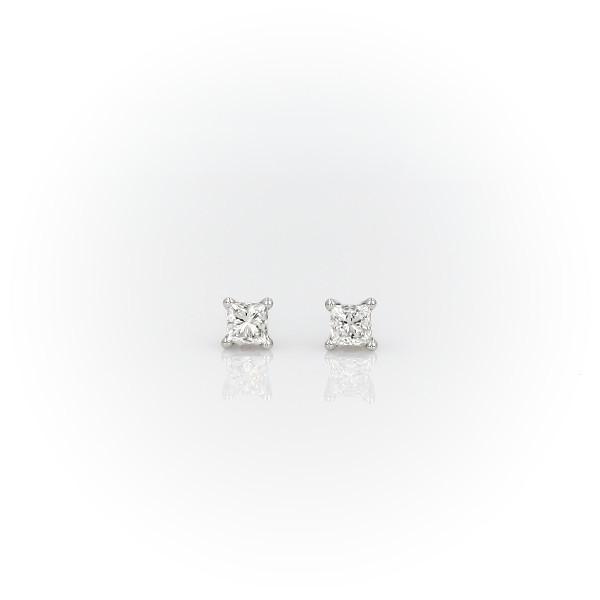 14k 白金墊形鑽石耳釘(1 克拉總重量)