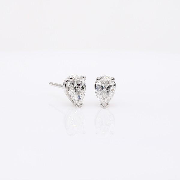 pear shape diamond stud earrings in 14k white gold 1 ct