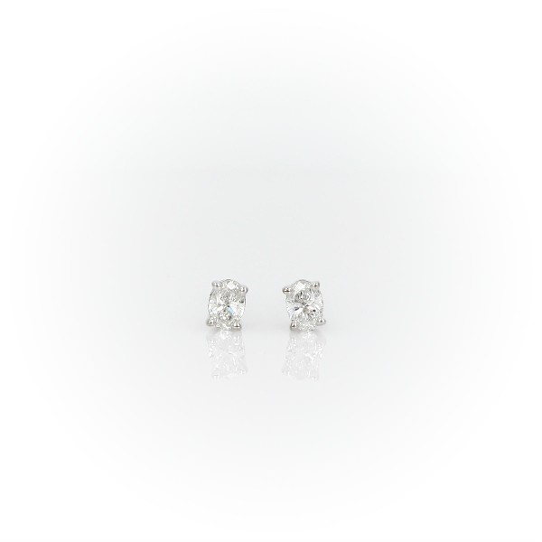 14k White Gold Four-Claw Oval Diamond Stud Earrings (0.23 ct. tw.)