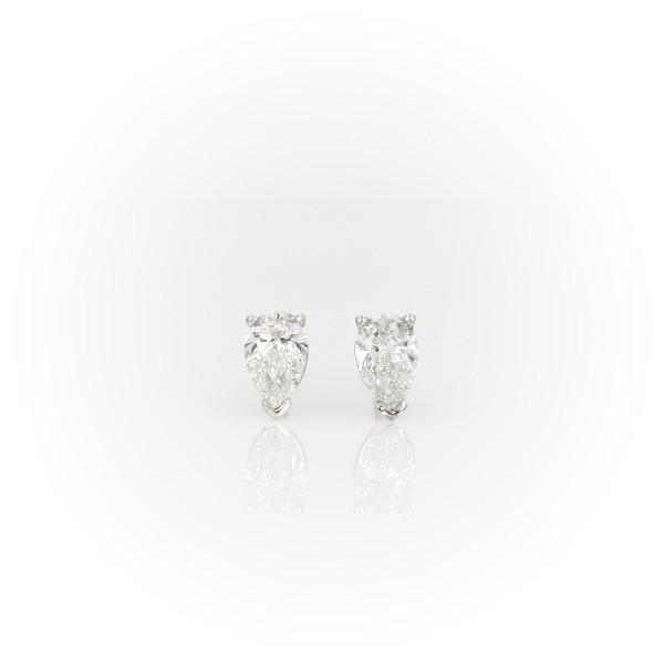 14k 白金梨形鑽石釘款耳環(3/4 克拉總重量)