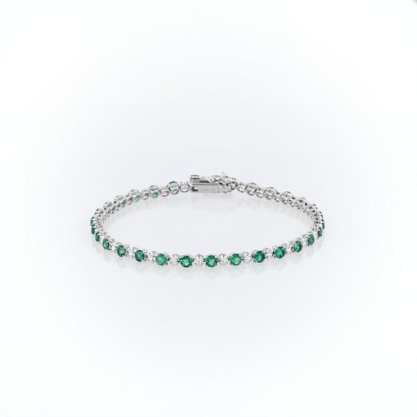 Bracelet émeraudes et diamants de tailles alternées en or blanc 14carats (3mm)