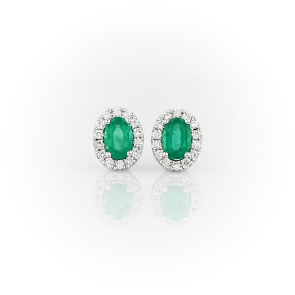 18k 白金椭圆祖母绿与密钉钻石耳环<br>(6x4毫米)