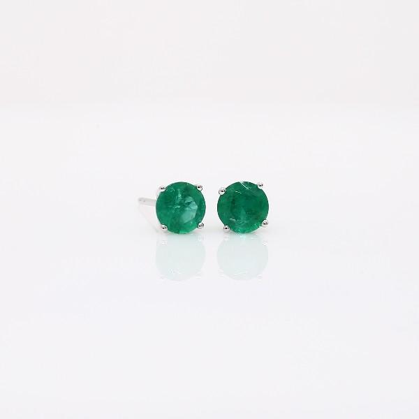 Emerald Stud Earrings in 18k White Gold (5mm)