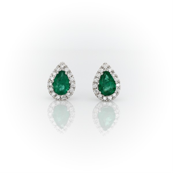 Pear-Shaped Emerald Stud Earrings with Diamond Halo in 14k White Gold (6x4mm)