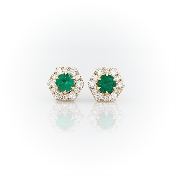 Emerald Stud Earrings with Hexagon Diamond Halo in 14k Yellow Gold