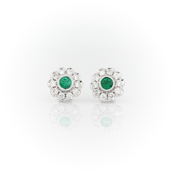 841e8711ef806 Emerald and Diamond Vintage-Inspired Fiore Stud Earrings in 14k White Gold  (3mm)   Blue Nile