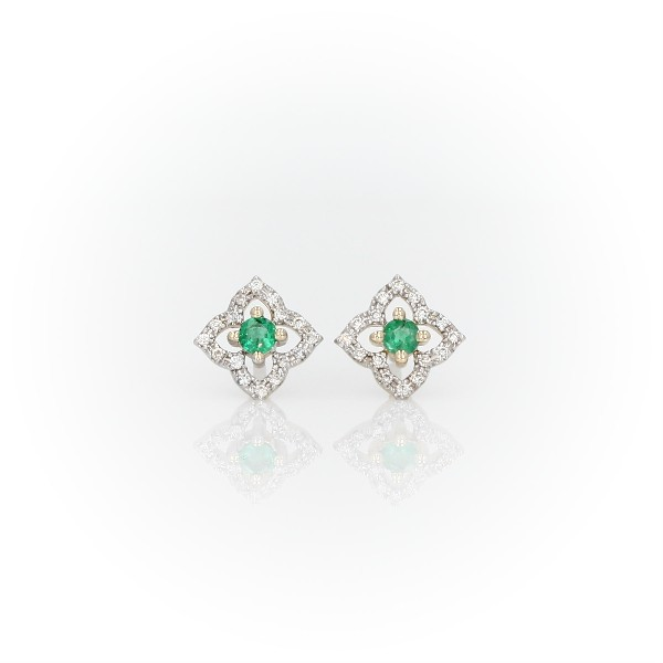 Petite Emerald Floral Stud Earrings in 14k Yellow Gold (2.4mm)