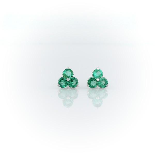 Petite Emerald Trio Cluster Earrings in 14k White Gold (2.6mm)