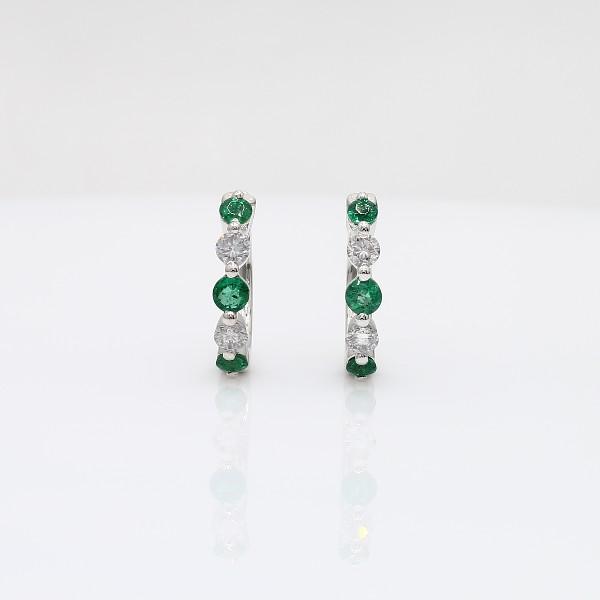 Petite Floating Emerald and Diamond Huggie Hoop Earrings in 14k White Gold