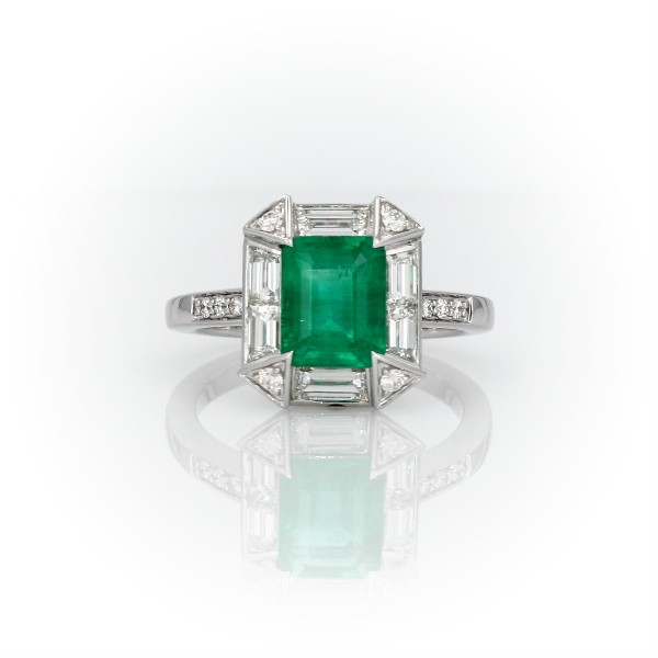 Emerald-Cut Emerald Ring With Baguette Halo And Diamond