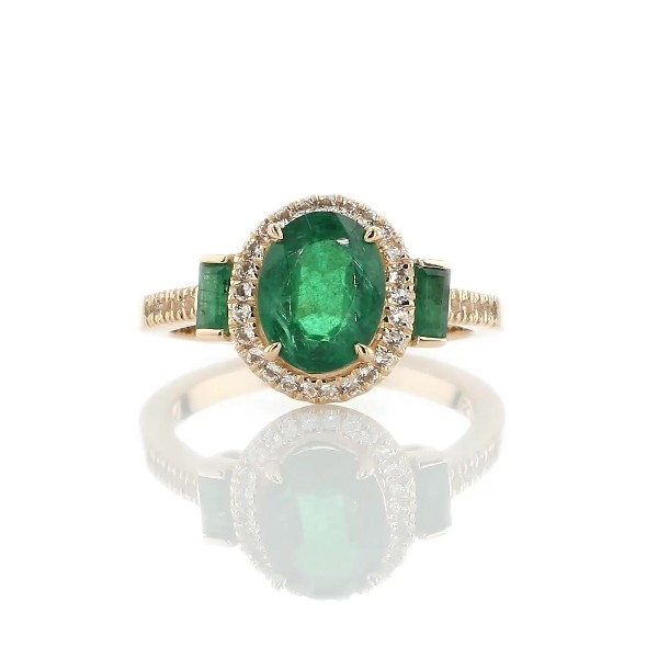 Oval and Baguette Emerald Ring in 14k Yellow Gold