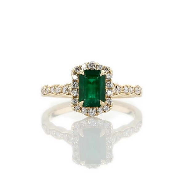 Emerald Cut Emerald Ring with Diamond Halo in 14k Yellow Gold