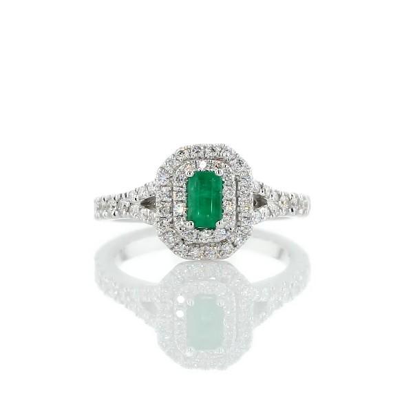 14k 白金祖母绿切割祖母绿与钻石双光环戒指(5x3毫米)