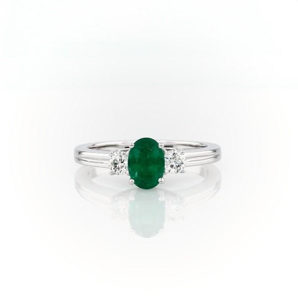 18k 白金祖母绿钻石戒指<br>(7x5毫米)