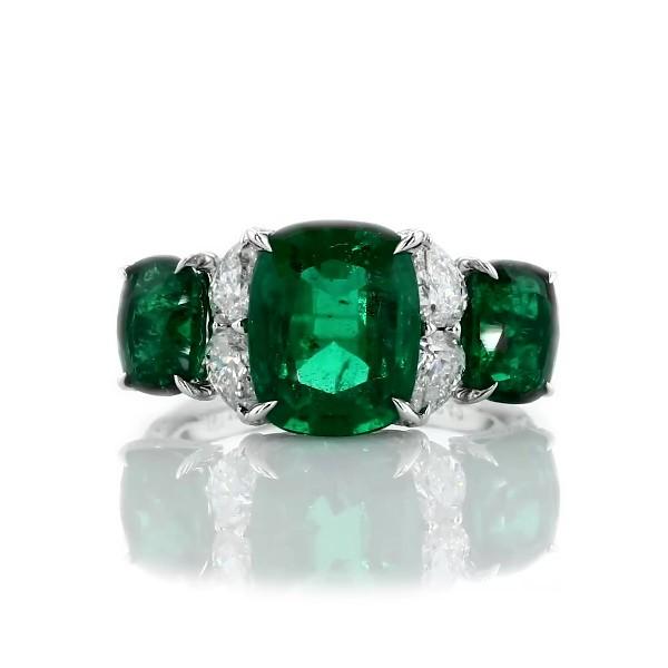 18k 白金三石綠寶石與鑽石戒指