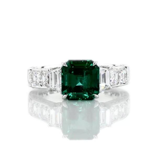 18k 白金祖母绿和钻石对戒