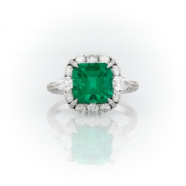 Emerald-Cut Emerald and Diamond Pear-Shaped Halo Ring in 18k White Gold