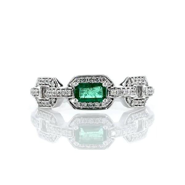 Anillo con micropavé de diamantes y esmeralda de talla esmeralda en oro blanco de 14 k