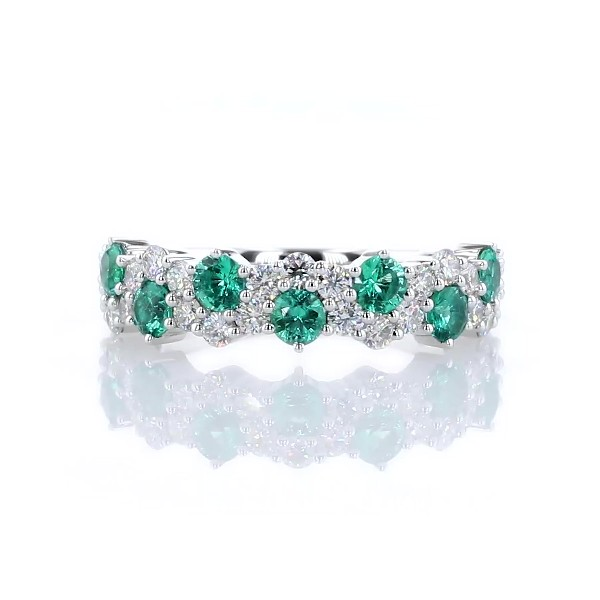14k 白金綠寶石與鑽石交錯戒指