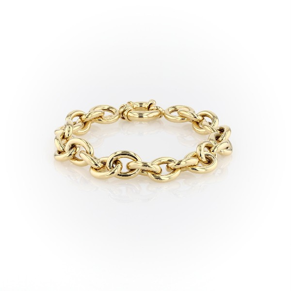 14k 意大利黄金椭圆形链状手链