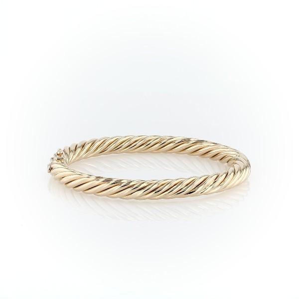 Bracelet jonc corde en or jaune italien 14carats