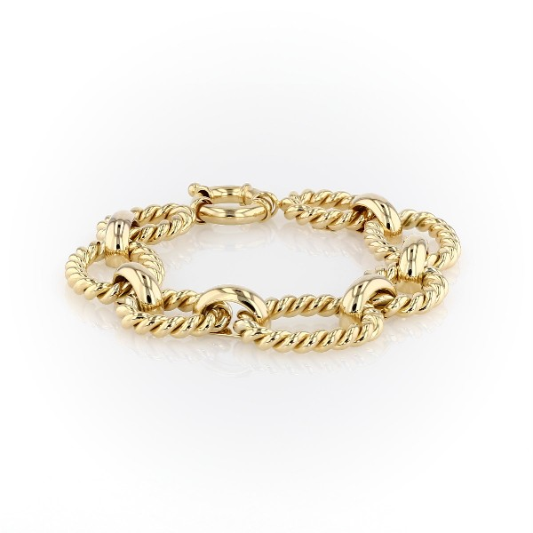 Large Link Braided Bracelet in 14k Italian Yellow Gold