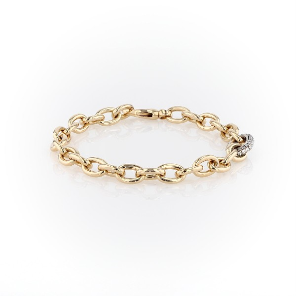 Chain Link Diamond Bracelet in 18k Italian Yellow Gold