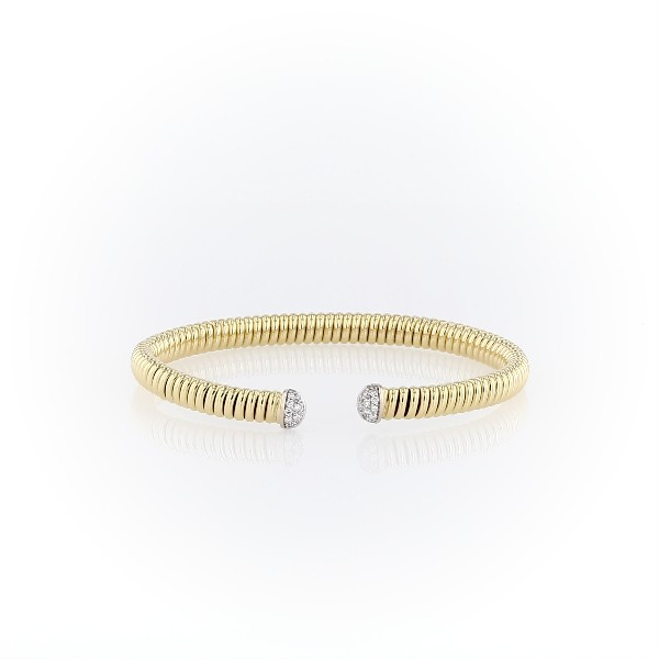 Twisted Cuff with Diamond Detail in 18k Italian Yellow Gold