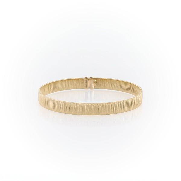 Bracelet manchette texturé en or jaune italien 18carats