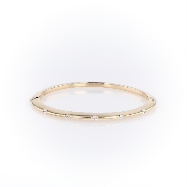 Knife-Edge Bangle with Diamond Detail in 18k Italian Yellow Gold