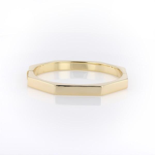 Bracelet jonc octogonal en or jaune italien 14carats
