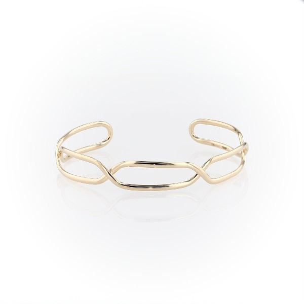 Italian Gold Mixed Link Twisted Cuff in 14k Yellow Gold