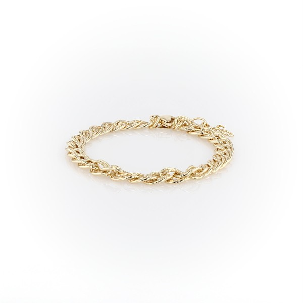 Adjustable Double Link Bracelet in Sterling Silver with Yellow Gold Vermeil
