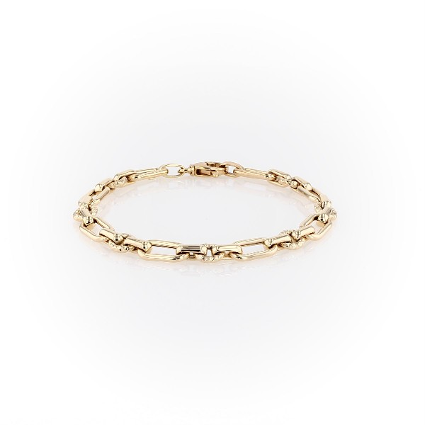 Long and Short Link Bracelet in 14k Yellow Gold