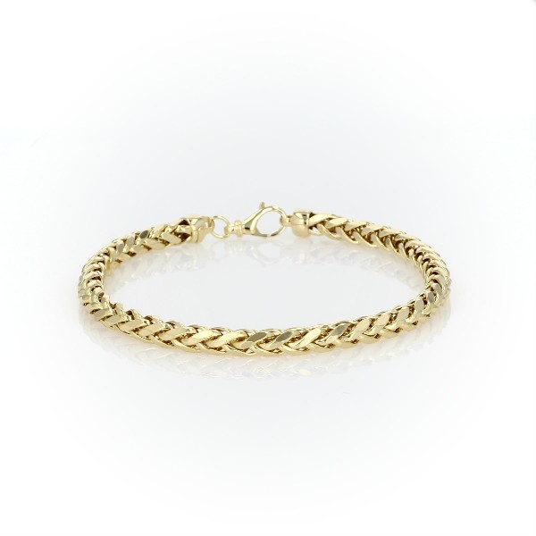 Men's Diamond Cut Square Franco Bracelet in 14k Yellow Gold