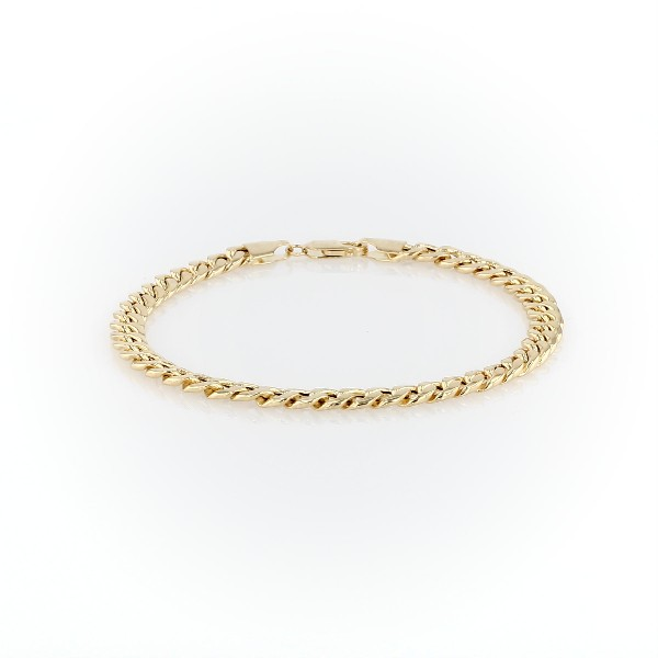 Miami Cuban Link Bracelet In 14k Yellow Gold Top View Image Magnified 360 Video For A More Detailed