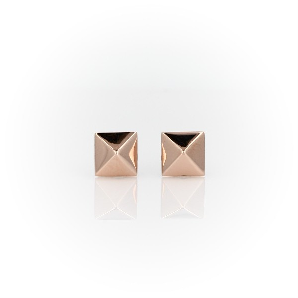 Puces d'oreilles pyramide en or rose 14carats