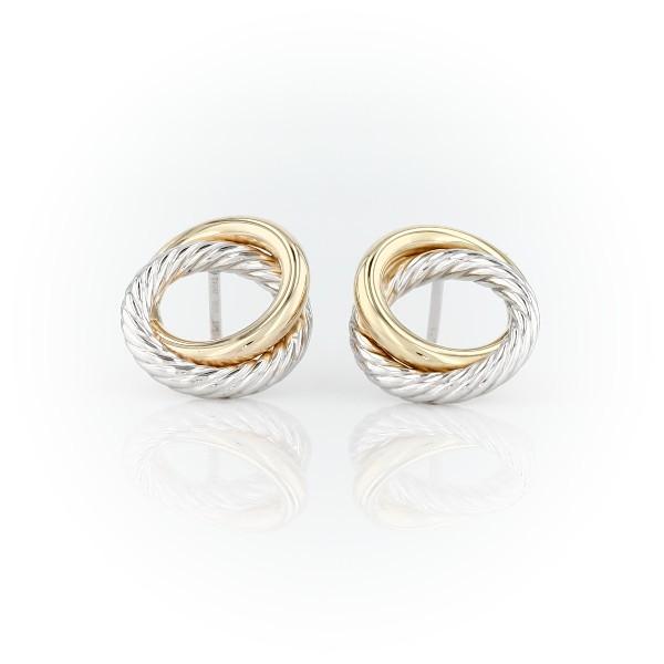 Aretes con cuerda y nudo del amor en dos tonos en oro blanco y amarillo italiano de 14k