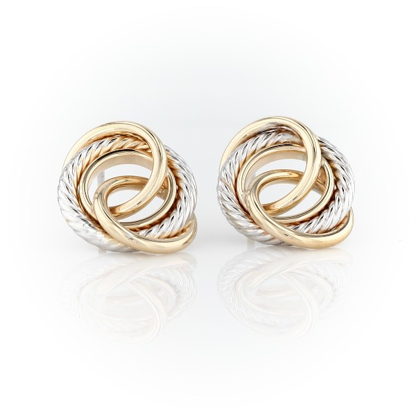 Textured Loose Love Knot Earrings in 14k Italian Yellow and White Gold