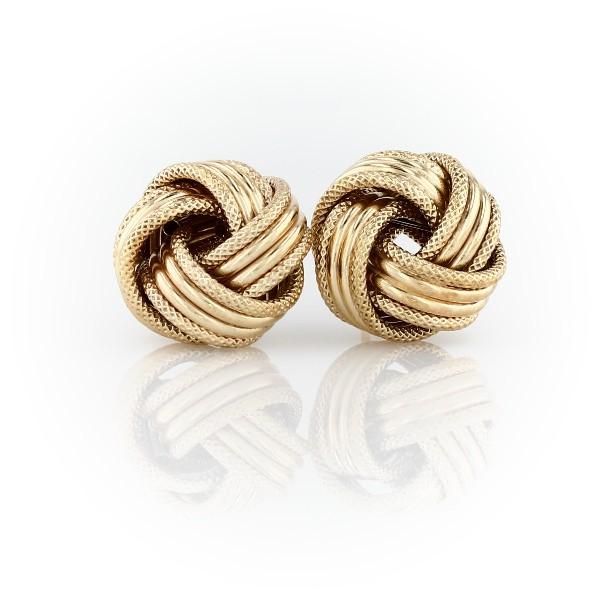 Grande Love Knot Earrings in 14k Italian Yellow Gold