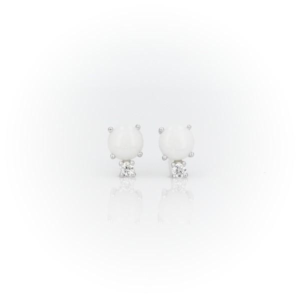 Opal and Diamond Stud Earrings in 18k White Gold (5mm)