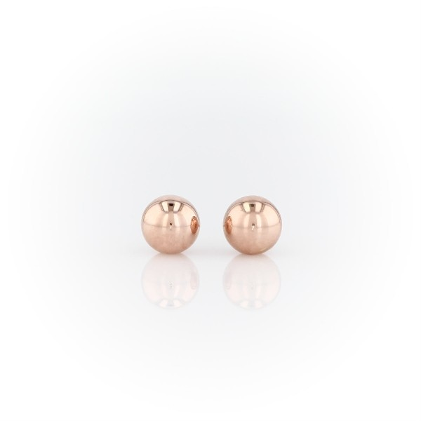 Bead Ball Stud Earrings in 14k Rose Gold (6mm)
