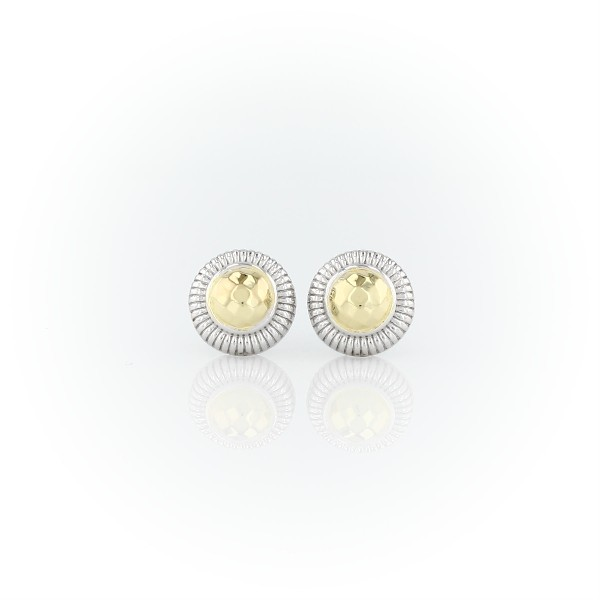 Blue Nile Frances Gadbois Two-Tone Strie Stud Earrings in Sterling Silver and Yellow Gold Vermeil svbl0ykwV