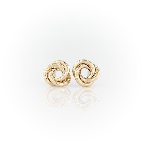 Petites boucles d'oreilles nœud d'amour en or jaune 14carats