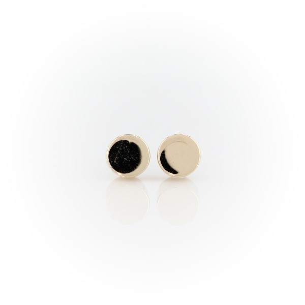 Flat Round Stud Earrings in 14k Yellow Gold
