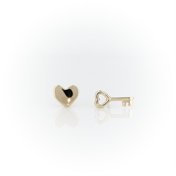 Heart and Key Mismatched Stud Earrings in 14k Yellow Gold
