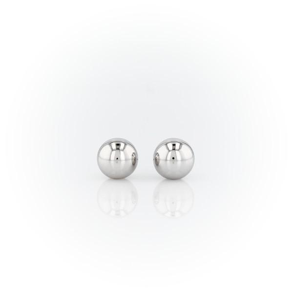 14k 白金球形圓珠釘款耳環(6毫米)